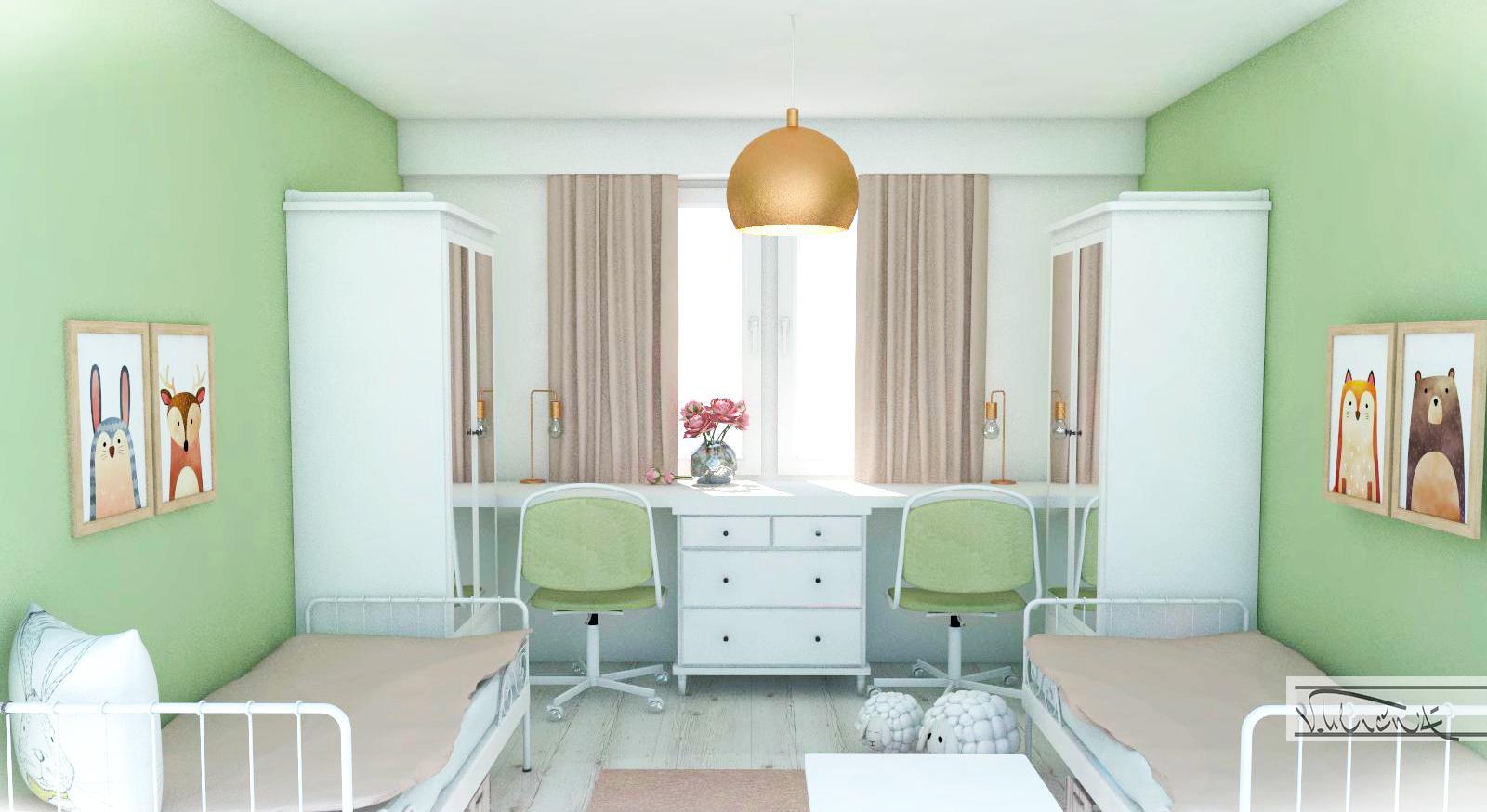 Detská izba - Izba pre dve dievcatka, 3,5 x 3,5m