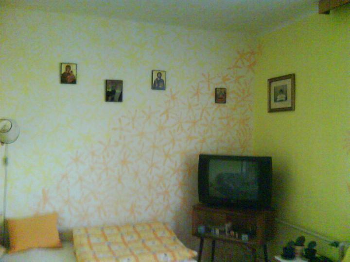 """""""vkusné"""" bývanie ;-) - a jedna fotka z mojho domáceho albumu :-D u babky sa išla malovat izba a bratranec mal vtedy 18 rokov, povedal že maká v Holandsku na stavbách a ma skúsenosti, tak že vymaluje izbu sám a spraví krásne kvety... tak sme ho nechali a toto je výsledok :D"""