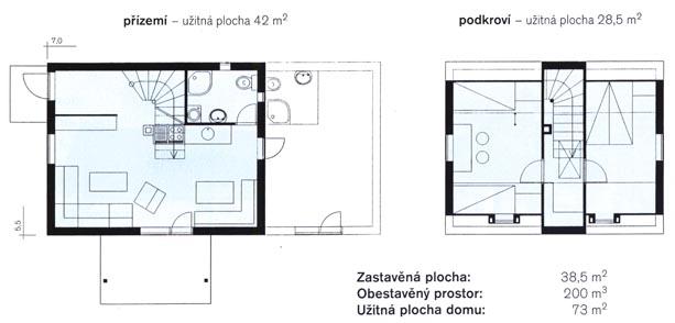 Malometrážne rodinné domy - Chocholušik dispozícia