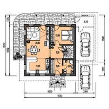 Je to nieco podobne,len obytna časť ma rozmery 7,5x10,5m a garaž s hosťovskou 3,5x 10,5m A namiesto tej spalne je menšia pracovna s prechodom do hosťovskej