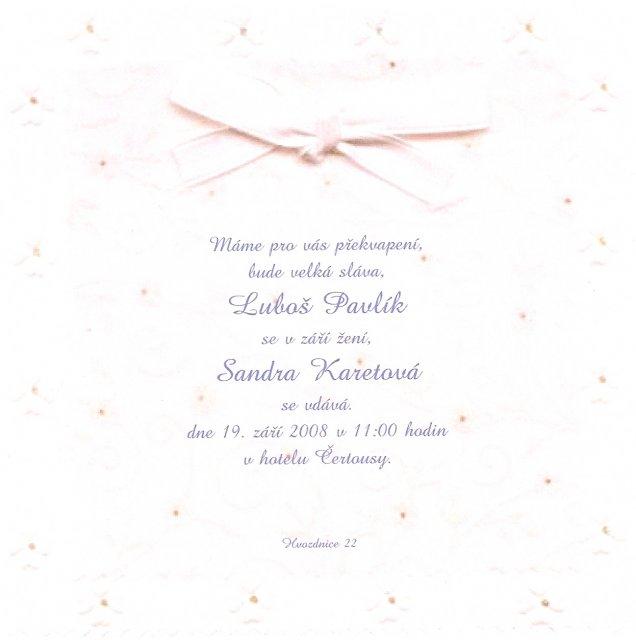 Sandra a Luboš Pavlíkovi 19.září 2008 v 11:00 - Náhled našeho oznámení...