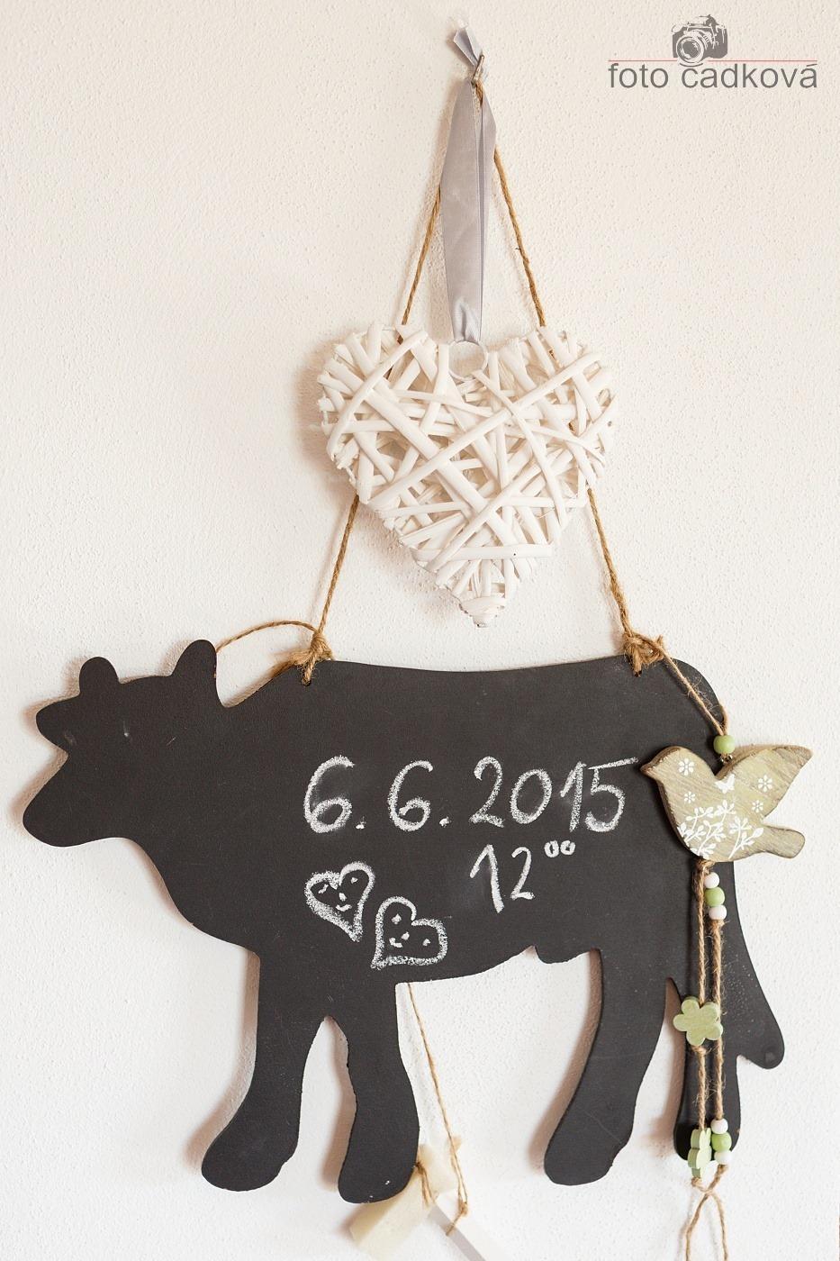 Ivet{{_AND_}}Jenda - Naše kravičková nástěnka, první a zatím poslední nápis, ještě chvíli tam vydrží :)