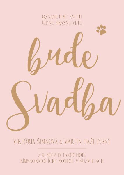 Naša ružovo-zlatá svadobná výzdoba od FlorDeLuxe - oznámenie - grafický návrh
