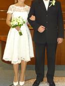 krátke svadobné čipkované retro šaty, 38