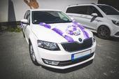 Svatební výzdoba na Škoda Octavia III - fialová,