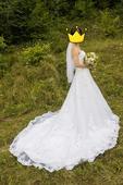 Svatební šaty velikost 36-40 + spodnice a závoj, 38