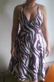 Letní šaty bílo - fialové , 38