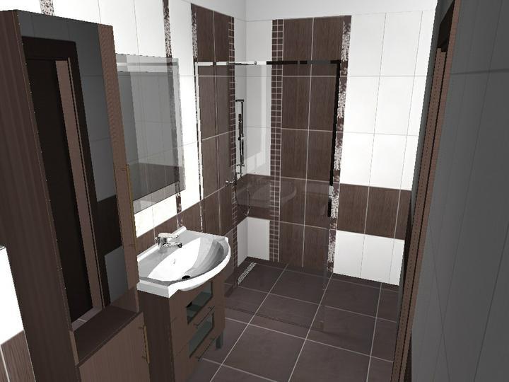 Od návrhu k realizaci koupelny - chtěla bych ještě roh ve sprše změnit, co listelu mezi tmavé obklady, bude to aspoň stejné jako verze u wc