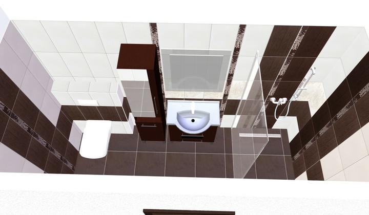 Od návrhu k realizaci koupelny - nebo dekor uprostřed a bílý dekor v rohu
