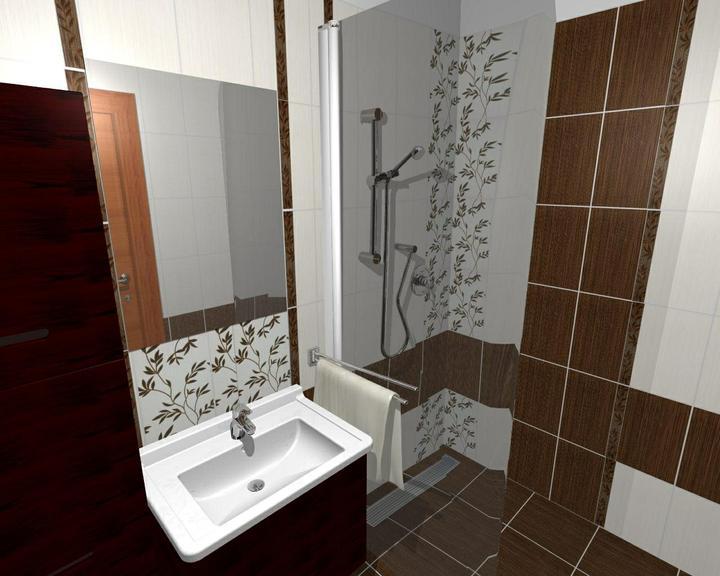 Od návrhu k realizaci koupelny - listela půjde středem tmavých obkladů, jako u wc