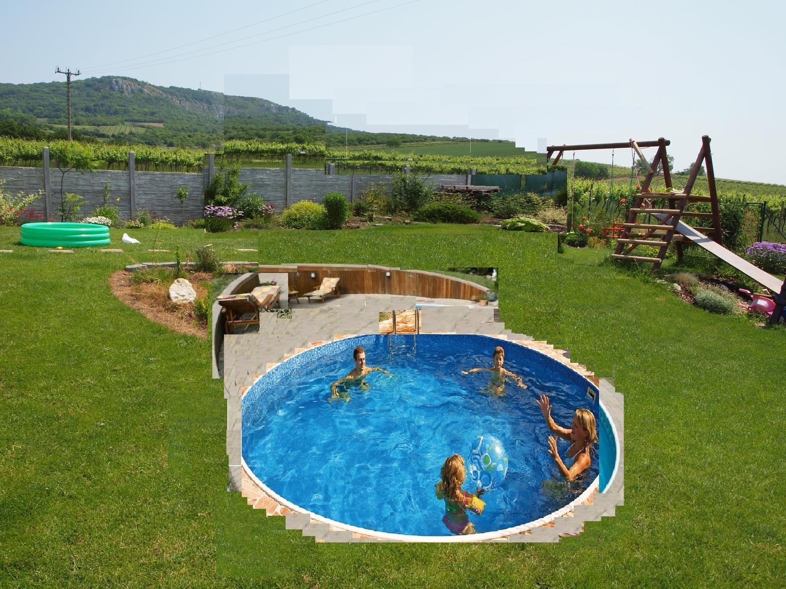 Zahrada - začaly hice a rozhodli jsme se taky pro bazének :-), první nástřel, jak by to mohlo vypadat, ale zídečka bude asi z kamene