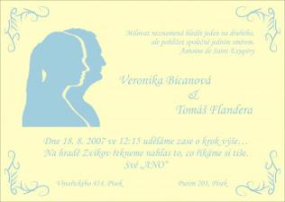 Naše svatební oznámení (vlastní výroba - siluety jsou opravdu naše) - celá svatba bude v barvé šampaň a nebesky modré