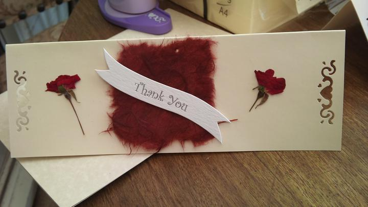 Some things - Homemade thank you cards for wedding party in our colours