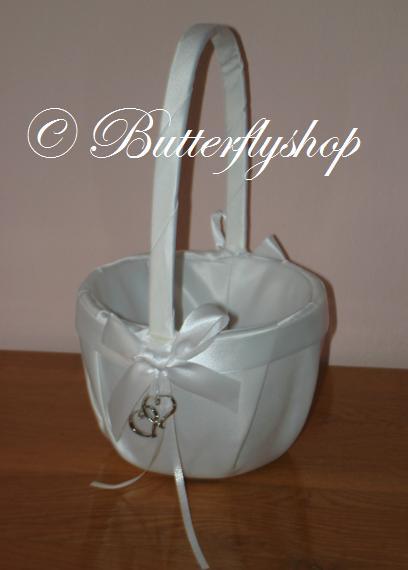 Košíček so srdiečkami - biely - Obrázok č. 1
