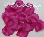 Textilné lupene ruží - fuchsia 100ks,