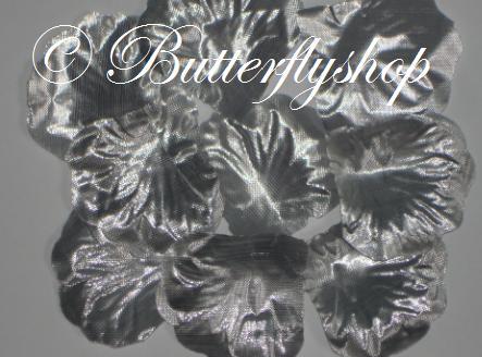 Textilné lupene ruží - strieborné100ks - Obrázok č. 1