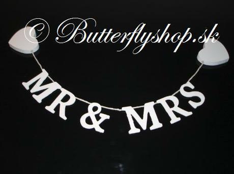 """Závesná girlanda """"Mr & Mrs"""" veľká - Obrázok č. 1"""