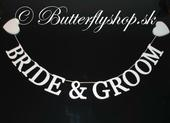 """Závesná girlanda """"Bride & Groom"""" ,"""