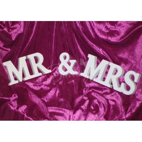 """Dekorácia """"MR & MRS"""" biela, zlatá - Obrázok č. 1"""
