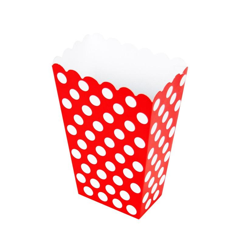 Bodkované krabičky na sladkosti / červené 8ks - Obrázok č. 2