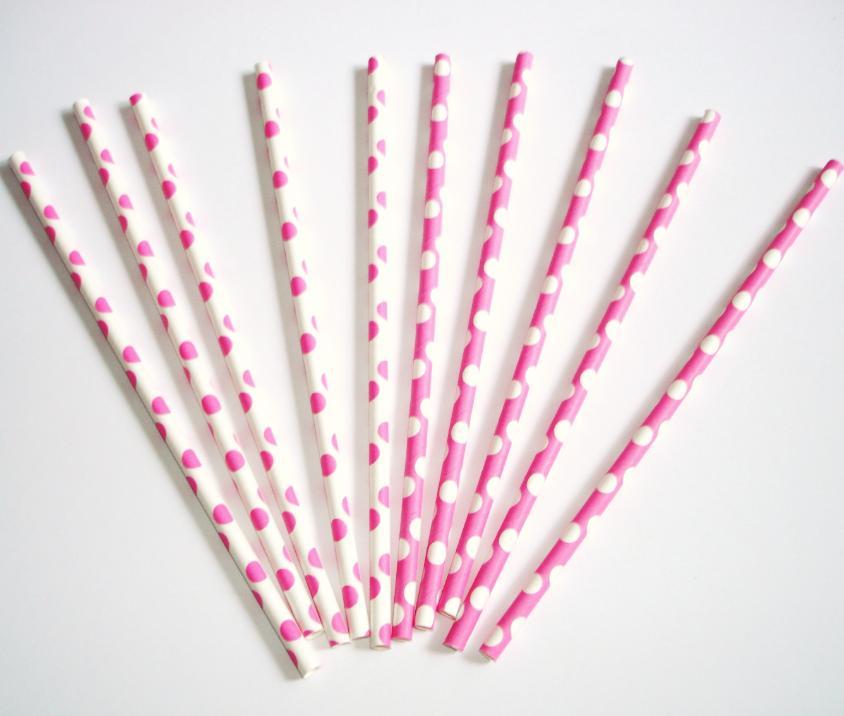 Papierové slamky bodkované 10ks / ružové - Obrázok č. 2