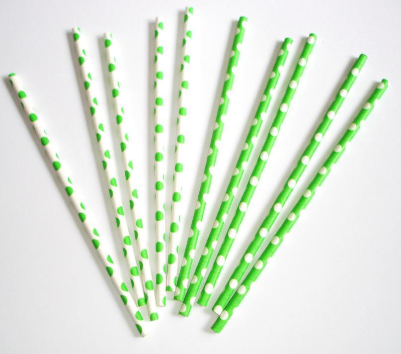 Papierové slamky bodkované 10ks / zelené - Obrázok č. 2