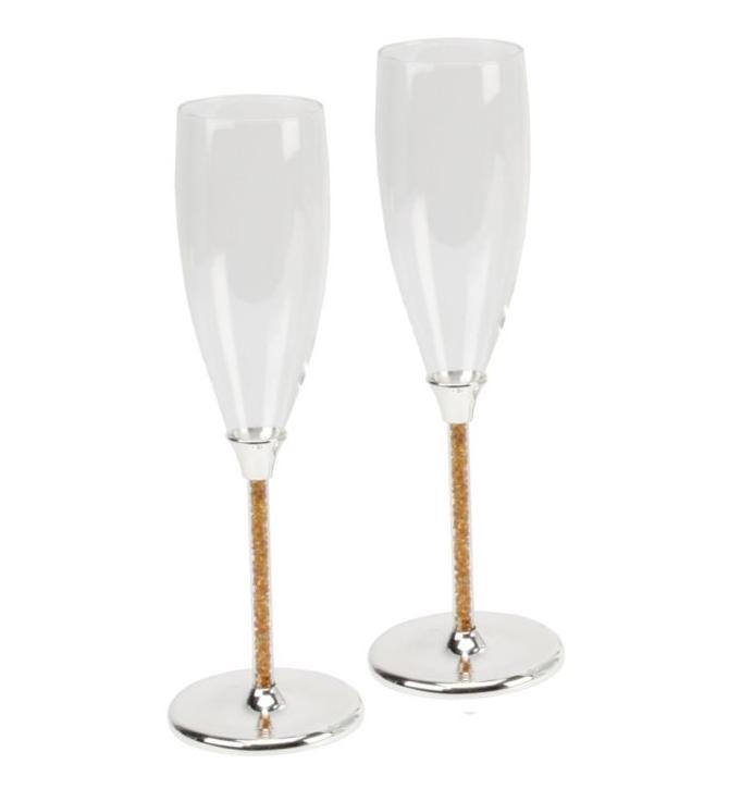 Svadobné poháre s kryštálikmi Swarovski / zlaté - Obrázok č. 1