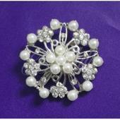 Lunita - perlová brošňa s kryštálmi,