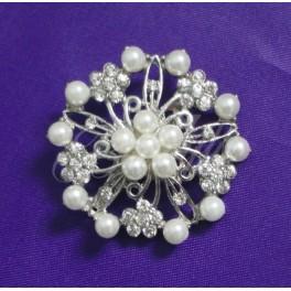Lunita - perlová brošňa s kryštálmi - Obrázok č. 1