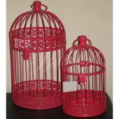 Dekoračná klietka - červeno-ružová,