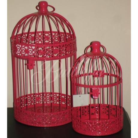 Dekoračná klietka - červeno-ružová - Obrázok č. 1