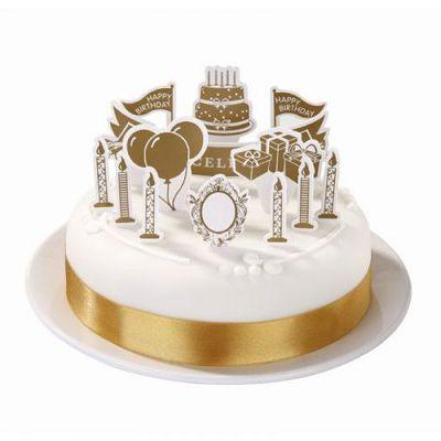 Dekoračný set na tortu / zlatý - Obrázok č. 3