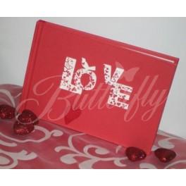 """Kniha hostí """"Love"""" - červená - Obrázok č. 1"""