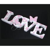 """Dekorácia """"LOVE"""" s motýlikmi,"""
