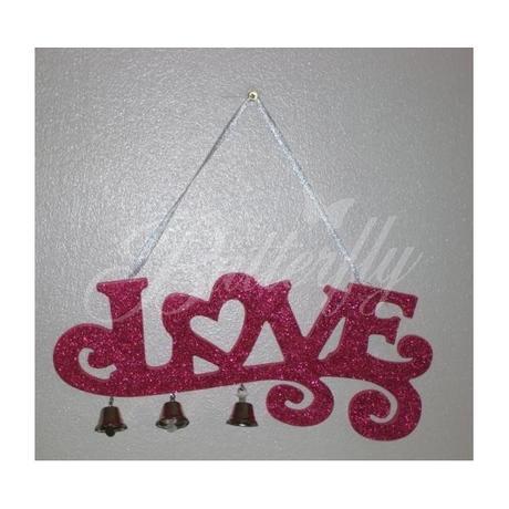 Závesná dekorácia so zvončekmi Love - Obrázok č. 1