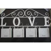 """Vintage - závesná dekorácia """"Love"""" s fotorámikmi,"""
