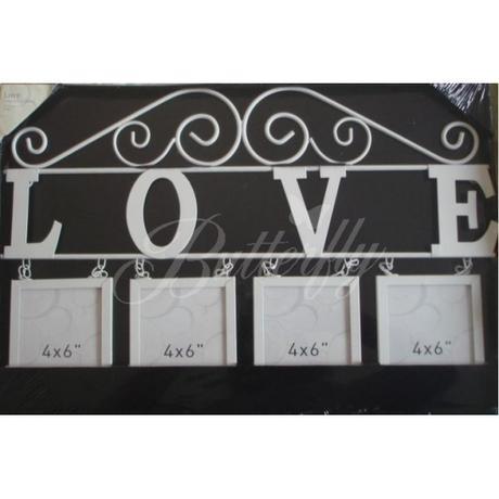 """Vintage - závesná dekorácia """"Love"""" s fotorámikmi - Obrázok č. 1"""