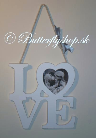 Závesná dekorácia LOVE - biela / fotorámik - Obrázok č. 1