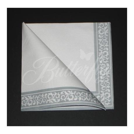 Servítky z netkanej textílie / bielo-striborné - Obrázok č. 2