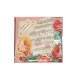 """Papierové servítky """"Vintage srdce"""" - 15ks - Obrázok č. 2"""