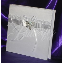 Fotoalbum - biely s kryštálovou brošňou - Obrázok č. 1