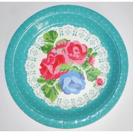 Vintage bodkované tanieriky - tyrkysové 10ks - Obrázok č. 1