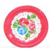 Vintage bodkované tanieriky - červené,