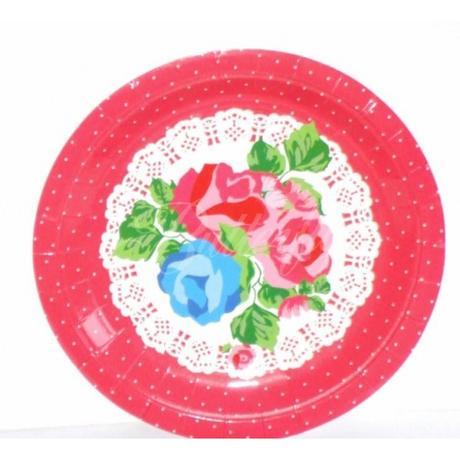 Vintage bodkované tanieriky - červené - Obrázok č. 1