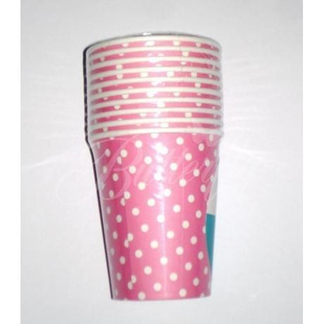 Papierové poháriky - bodkované / ružové - Obrázok č. 1