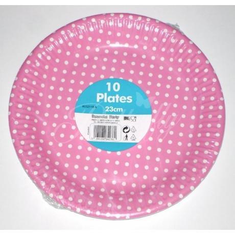 Papierové tanieriky - bodkované / ružové - Obrázok č. 1