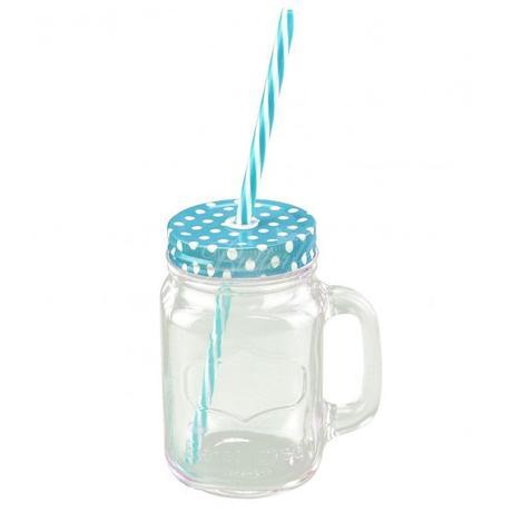 Retro pohár s bodkovaným viečkom a slamkou - Obrázok č. 2