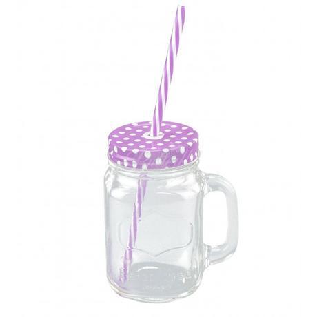 Retro pohár s bodkovaným viečkom a slamkou - Obrázok č. 3