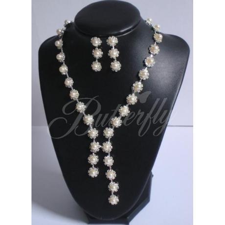 2-dielny set - perlový náhrdelník, náušnice - Obrázok č. 3