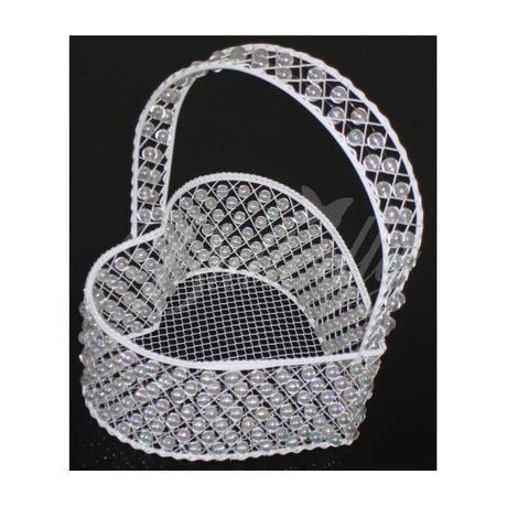 Perličkový košík - srdce - Obrázok č. 1